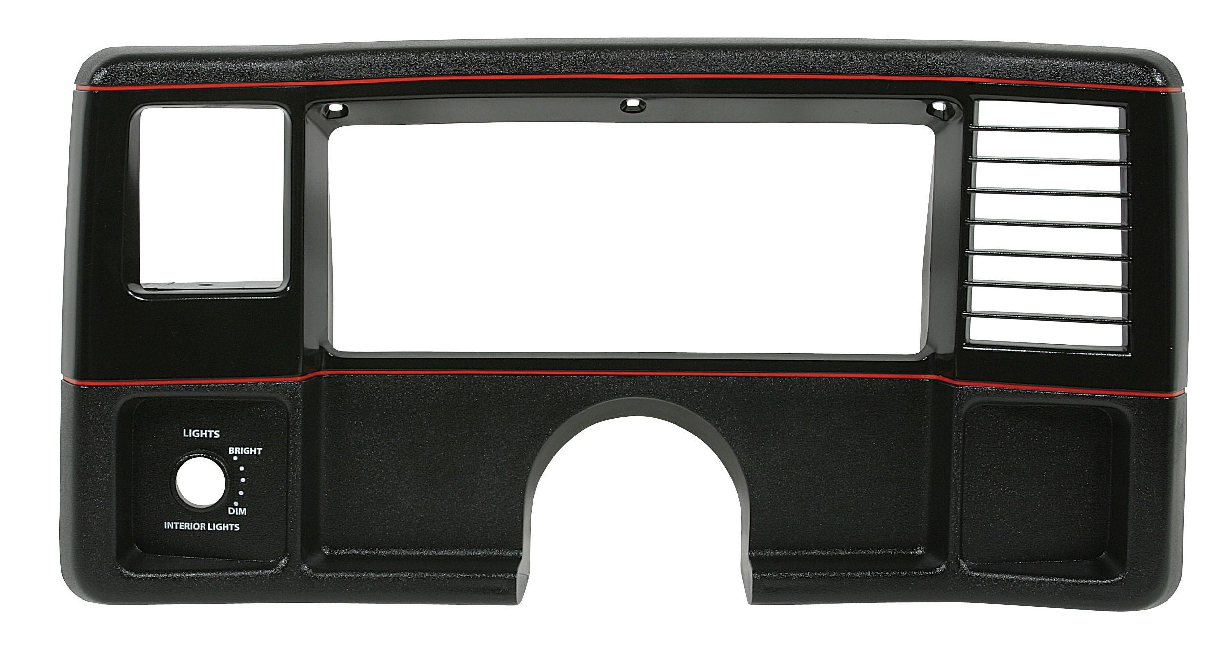 DASH FACE PLATES 86-88, Black w/Red Stripe, SS